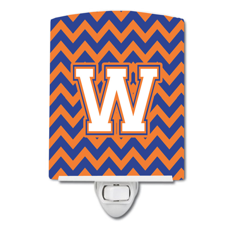 Buy this Letter W Chevron Blue and Orange #3 Ceramic Night Light CJ1060-WCNL