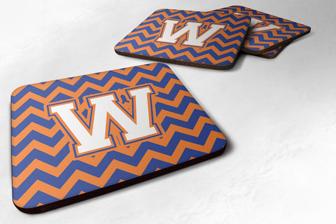 Buy this Letter W Chevron Blue and Orange #3 Foam Coaster Set of 4 CJ1060-WFC