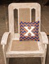 Letter X Chevron Blue and Orange #3 Fabric Decorative Pillow CJ1060-XPW1414 by Caroline's Treasures
