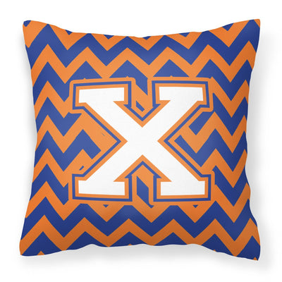 Buy this Letter X Chevron Blue and Orange #3 Fabric Decorative Pillow CJ1060-XPW1414