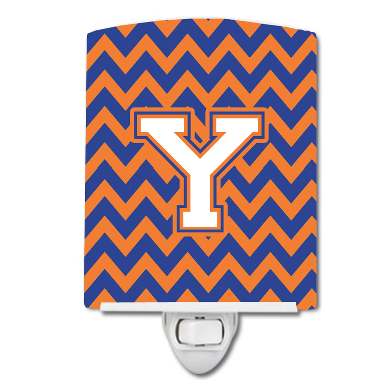 Buy this Letter Y Chevron Blue and Orange #3 Ceramic Night Light CJ1060-YCNL