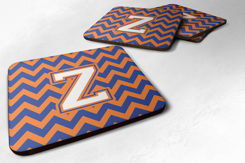 Buy this Letter Z Chevron Blue and Orange #3 Foam Coaster Set of 4 CJ1060-ZFC