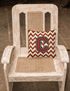 Letter C Chevron Maroon and Gold Fabric Decorative Pillow CJ1061-CPW1414 by Caroline's Treasures