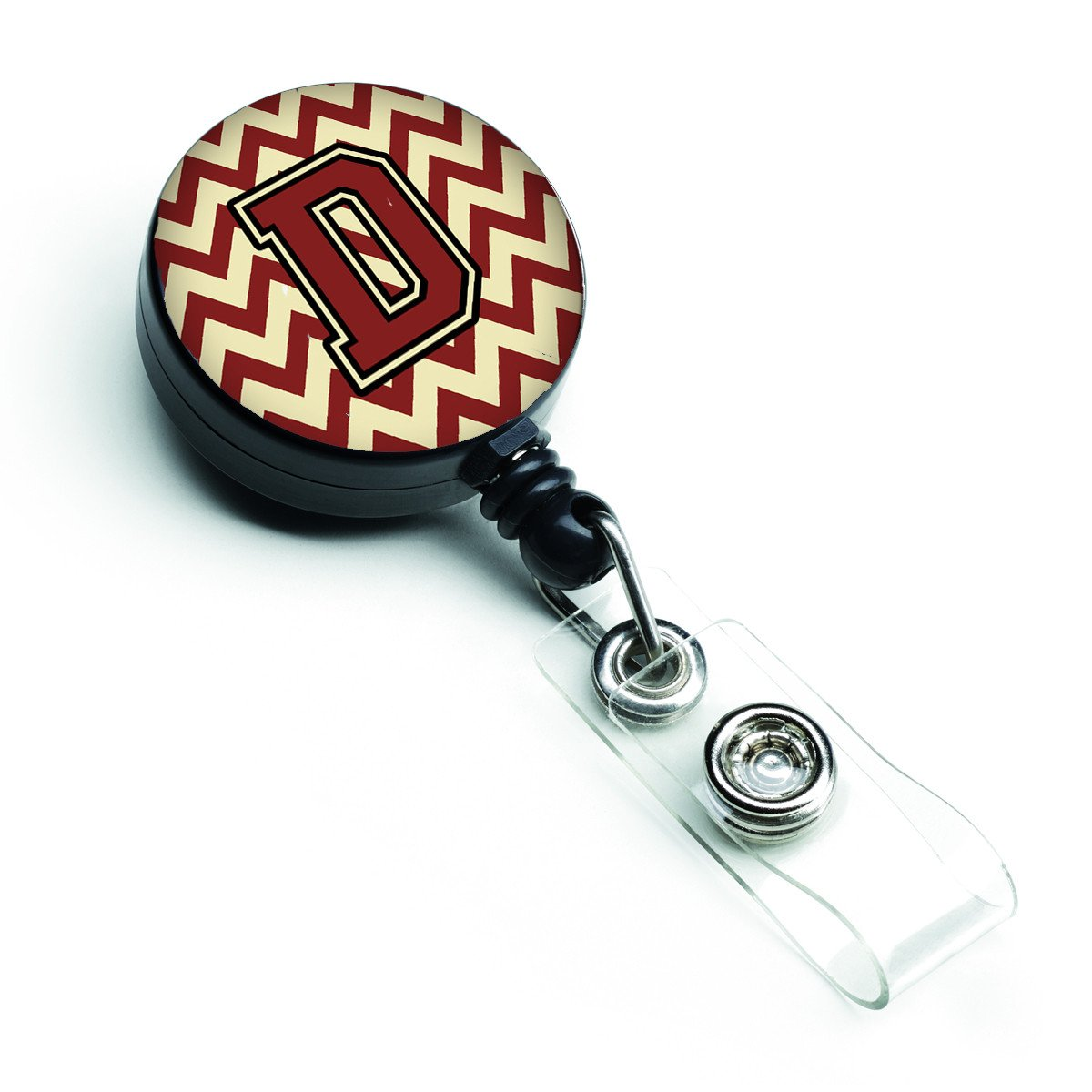 Buy this Letter D Chevron Maroon and Gold Retractable Badge Reel CJ1061-DBR