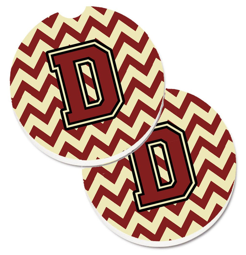 Buy this Letter D Chevron Maroon and Gold Set of 2 Cup Holder Car Coasters CJ1061-DCARC