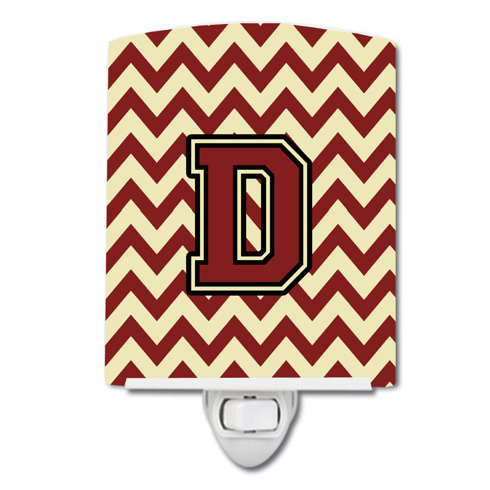 Letter D Chevron Maroon and Gold Ceramic Night Light CJ1061-DCNL by Caroline's Treasures