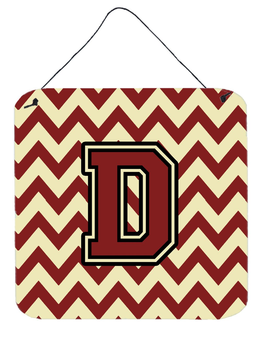 Buy this Letter D Chevron Maroon and Gold Wall or Door Hanging Prints CJ1061-DDS66