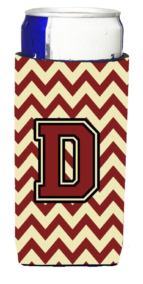 Buy this Letter D Chevron Maroon and Gold Ultra Beverage Insulators for slim cans CJ1061-DMUK