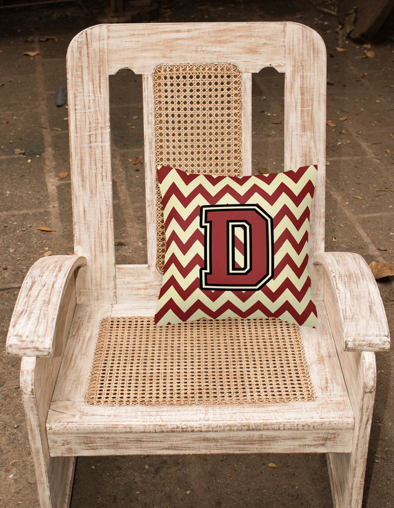 Buy this Letter D Chevron Maroon and Gold Fabric Decorative Pillow CJ1061-DPW1414