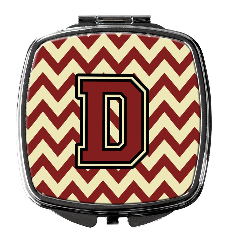 Buy this Letter D Chevron Maroon and Gold Compact Mirror CJ1061-DSCM