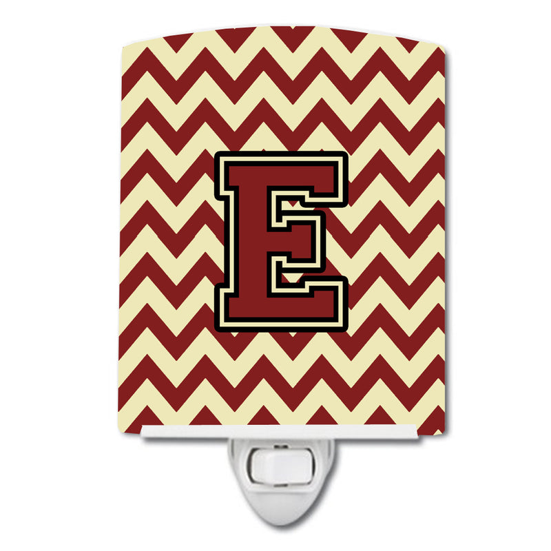 Buy this Letter E Chevron Maroon and Gold Ceramic Night Light CJ1061-ECNL