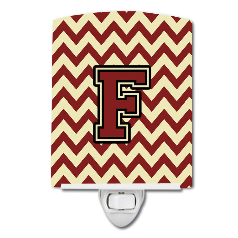 Buy this Letter F Chevron Maroon and Gold Ceramic Night Light CJ1061-FCNL