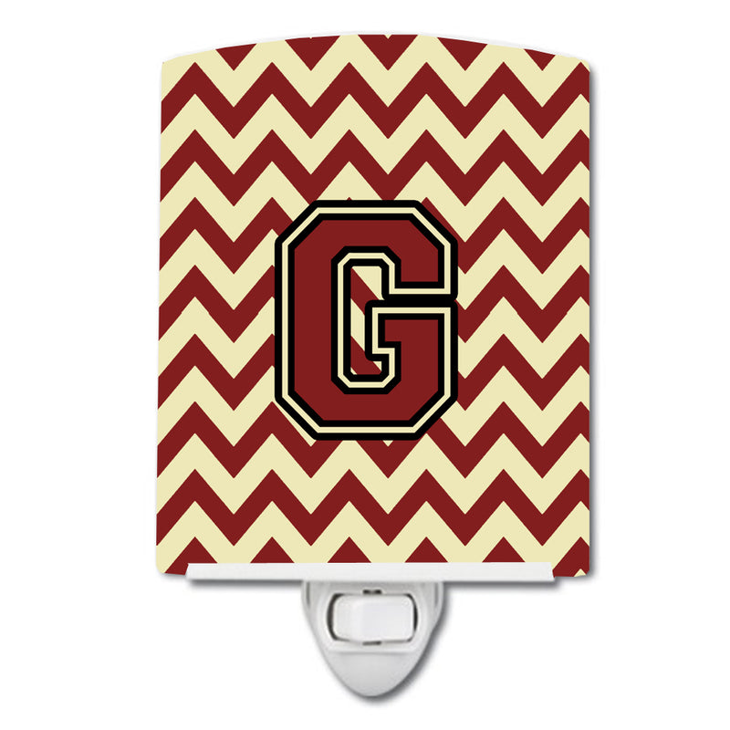 Buy this Letter G Chevron Maroon and Gold Ceramic Night Light CJ1061-GCNL