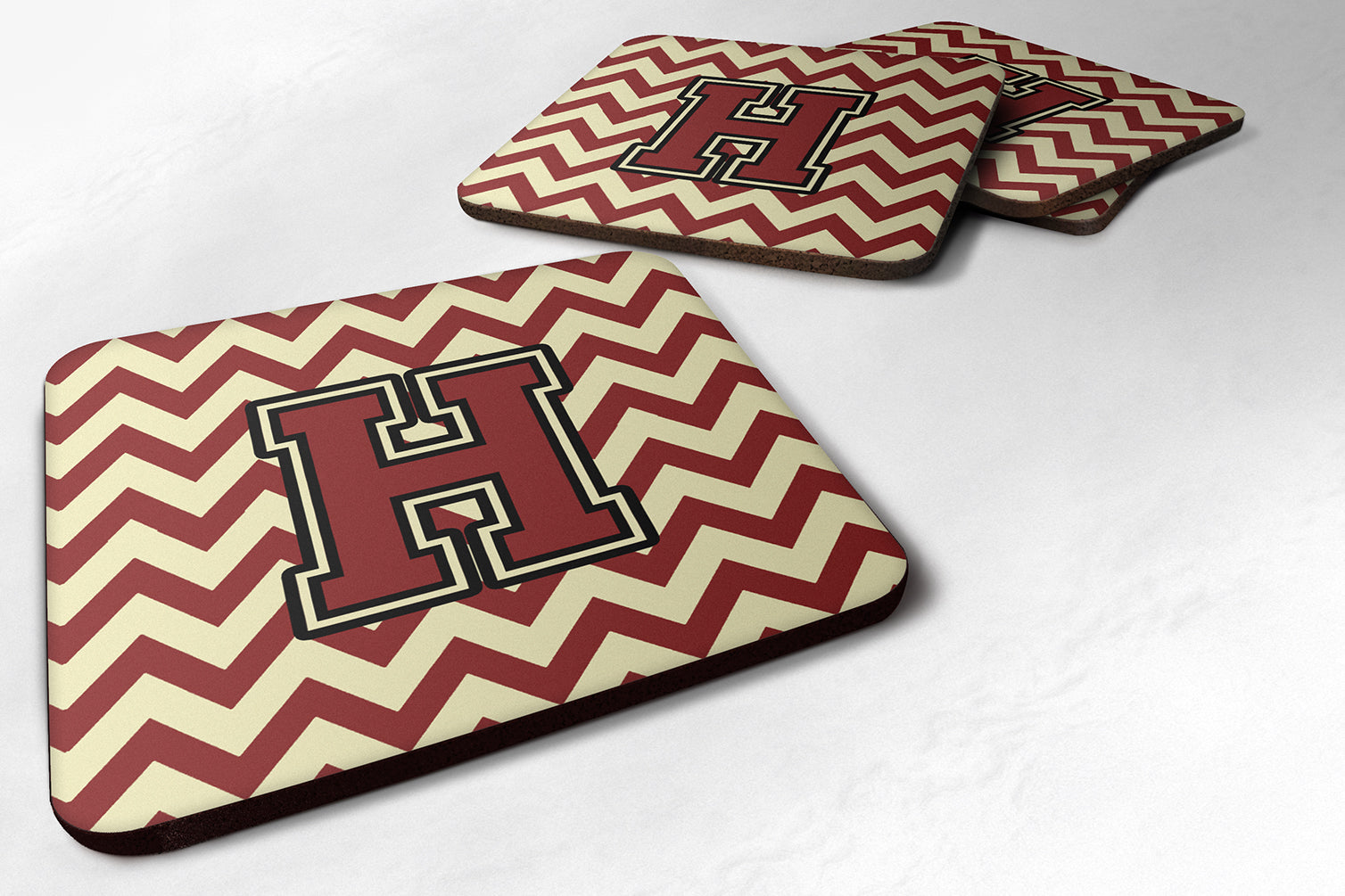 Letter H Chevron Maroon and Gold Foam Coaster Set of 4 CJ1061-HFC by Caroline's Treasures
