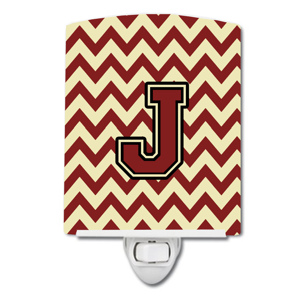 Letter J Chevron Maroon and Gold Ceramic Night Light CJ1061-JCNL by Caroline's Treasures