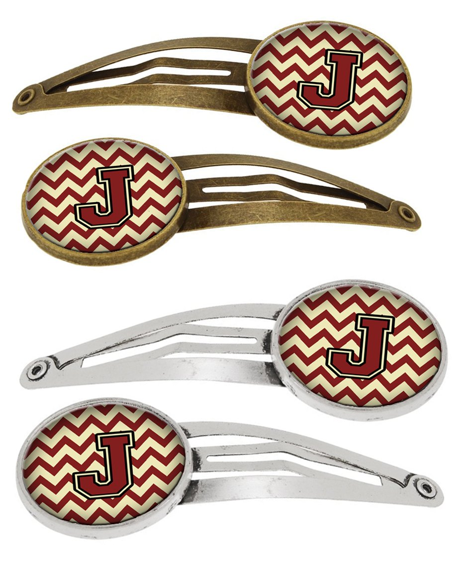 Letter J Chevron Maroon and Gold Set of 4 Barrettes Hair Clips CJ1061-JHCS4 by Caroline's Treasures