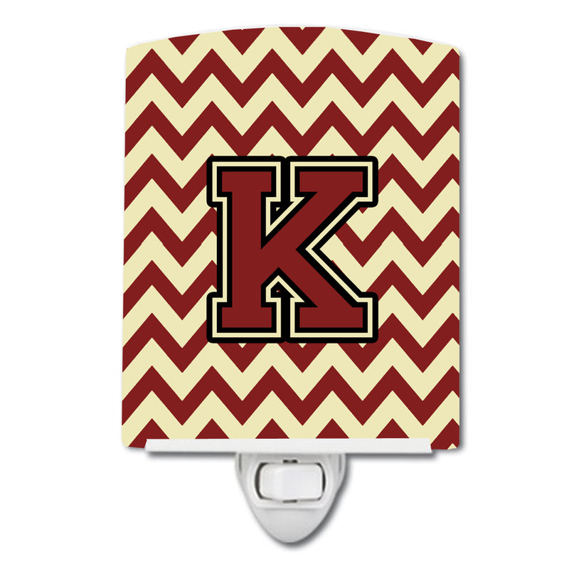 Buy this Letter K Chevron Maroon and Gold Ceramic Night Light CJ1061-KCNL