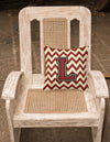 Letter L Chevron Maroon and Gold Fabric Decorative Pillow CJ1061-LPW1414 by Caroline's Treasures