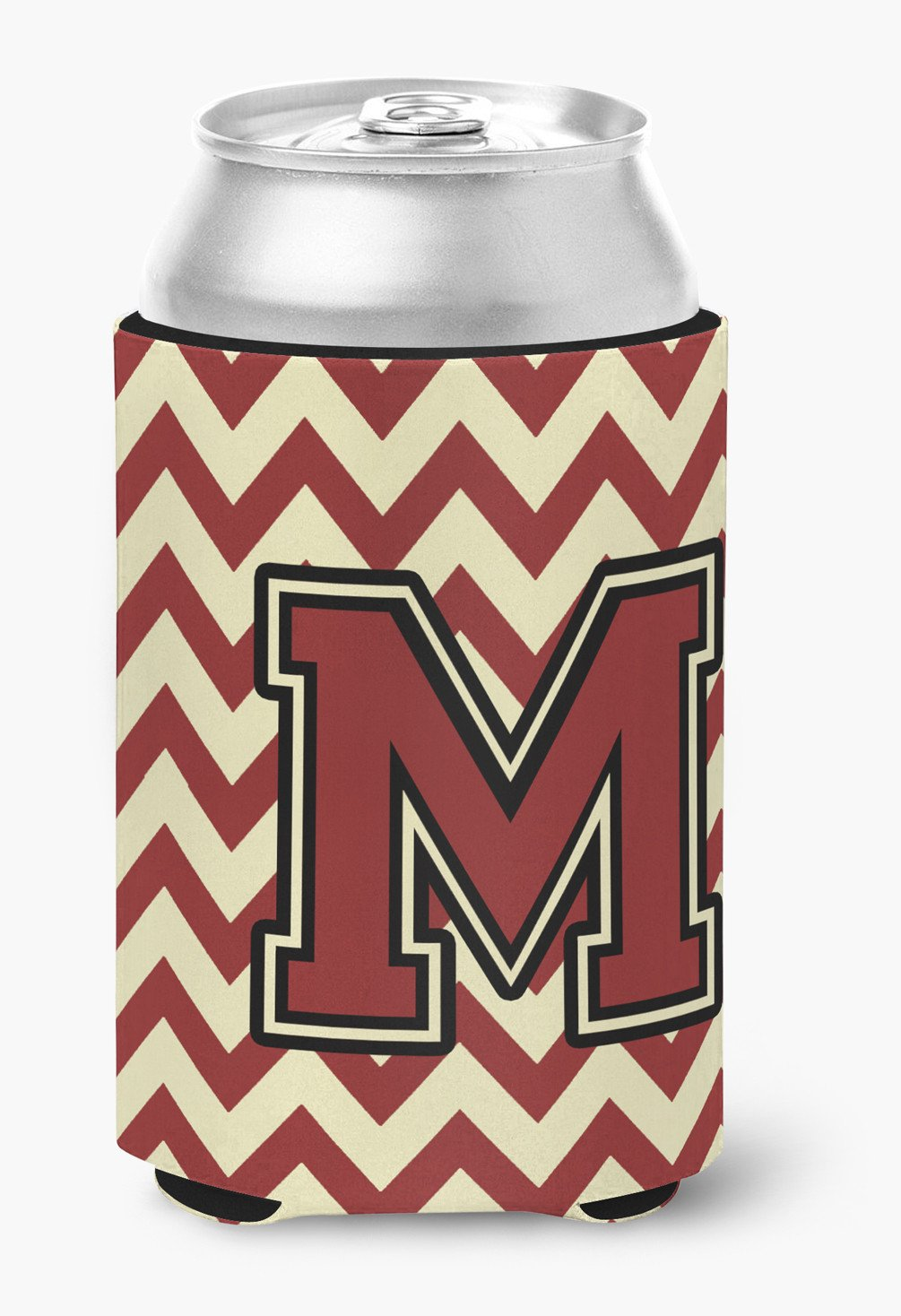 Letter M Chevron Maroon and Gold Can or Bottle Hugger CJ1061-MCC by Caroline's Treasures