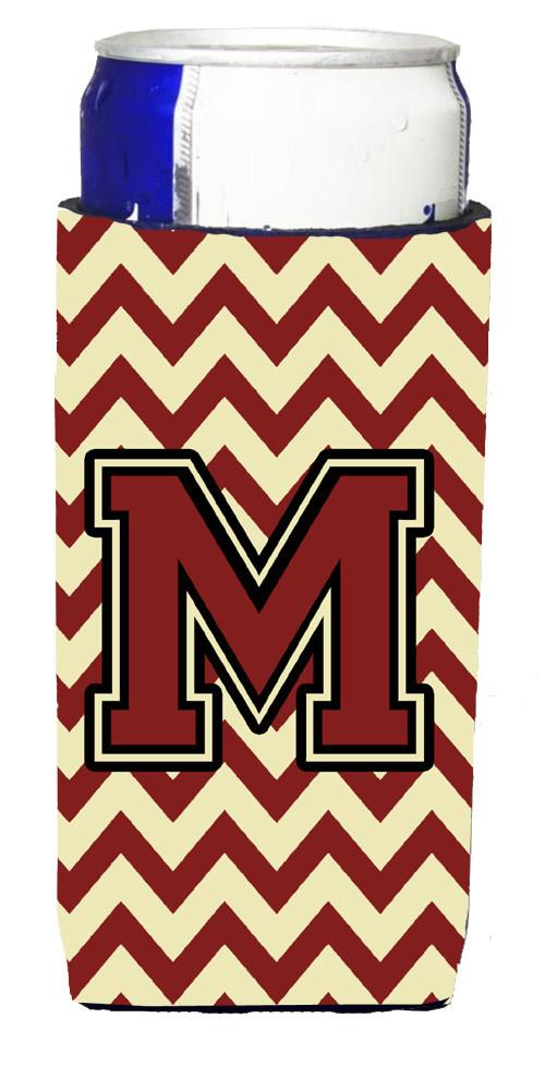 Letter M Chevron Maroon and Gold Ultra Beverage Insulators for slim cans CJ1061-MMUK by Caroline's Treasures