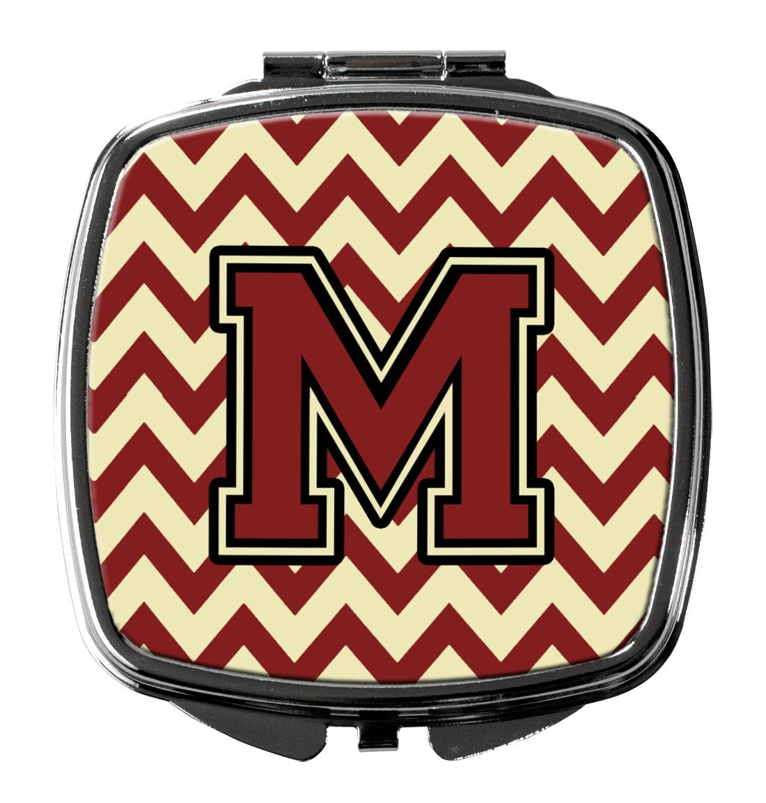 Letter M Chevron Maroon and Gold Compact Mirror CJ1061-MSCM by Caroline's Treasures
