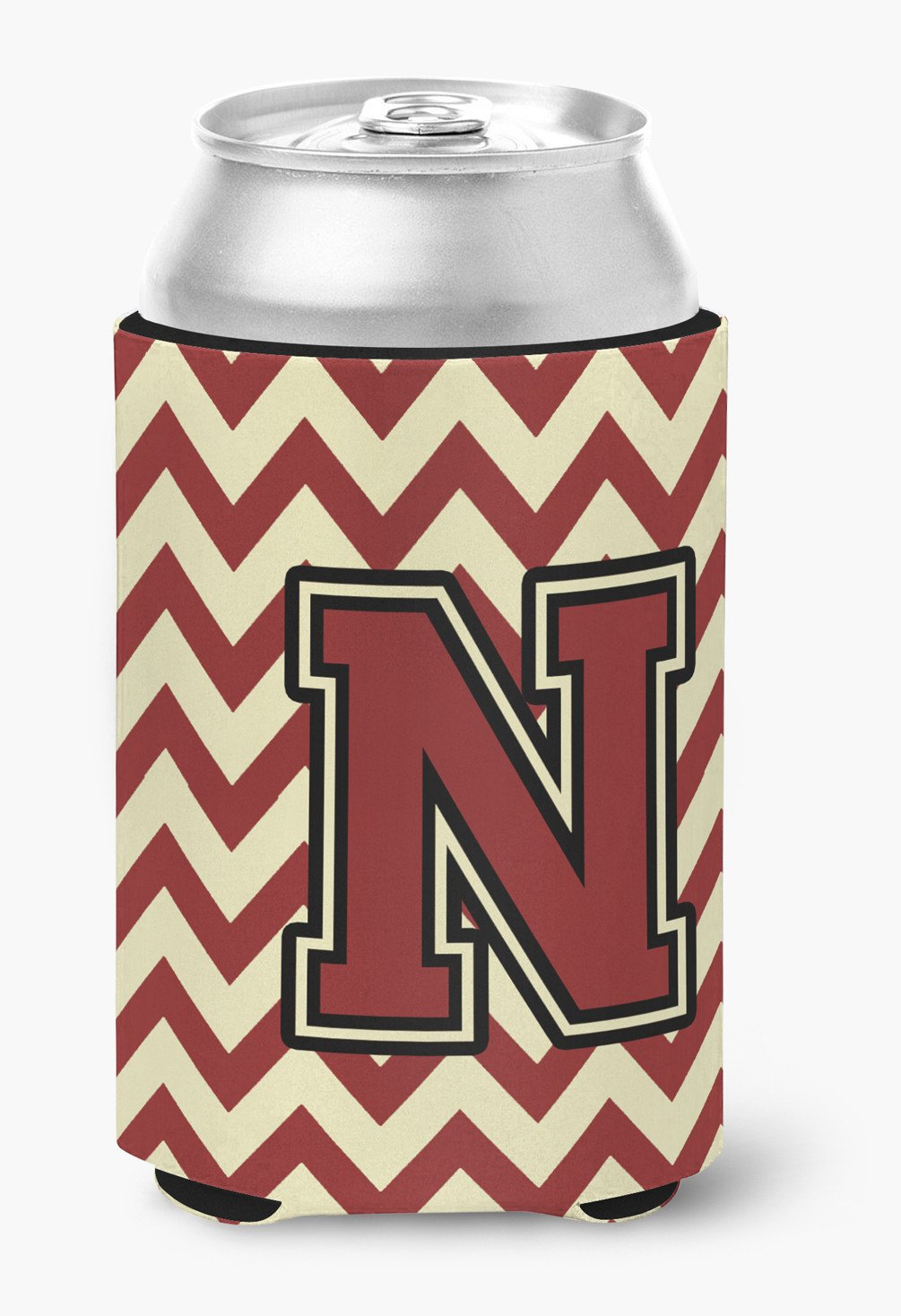 Letter N Chevron Maroon and Gold Can or Bottle Hugger CJ1061-NCC by Caroline's Treasures