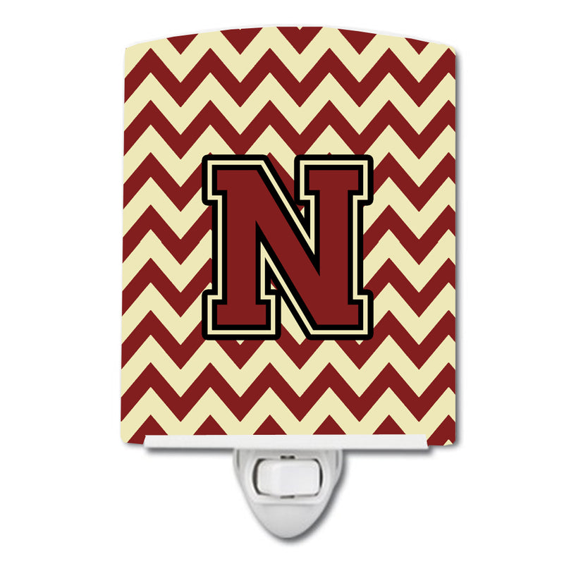 Buy this Letter N Chevron Maroon and Gold Ceramic Night Light CJ1061-NCNL