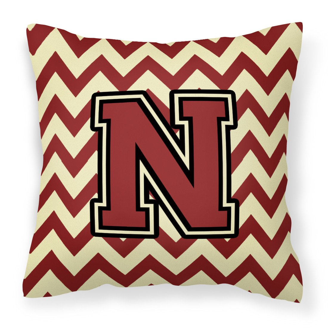Letter N Chevron Maroon and Gold Fabric Decorative Pillow CJ1061-NPW1414 by Caroline's Treasures