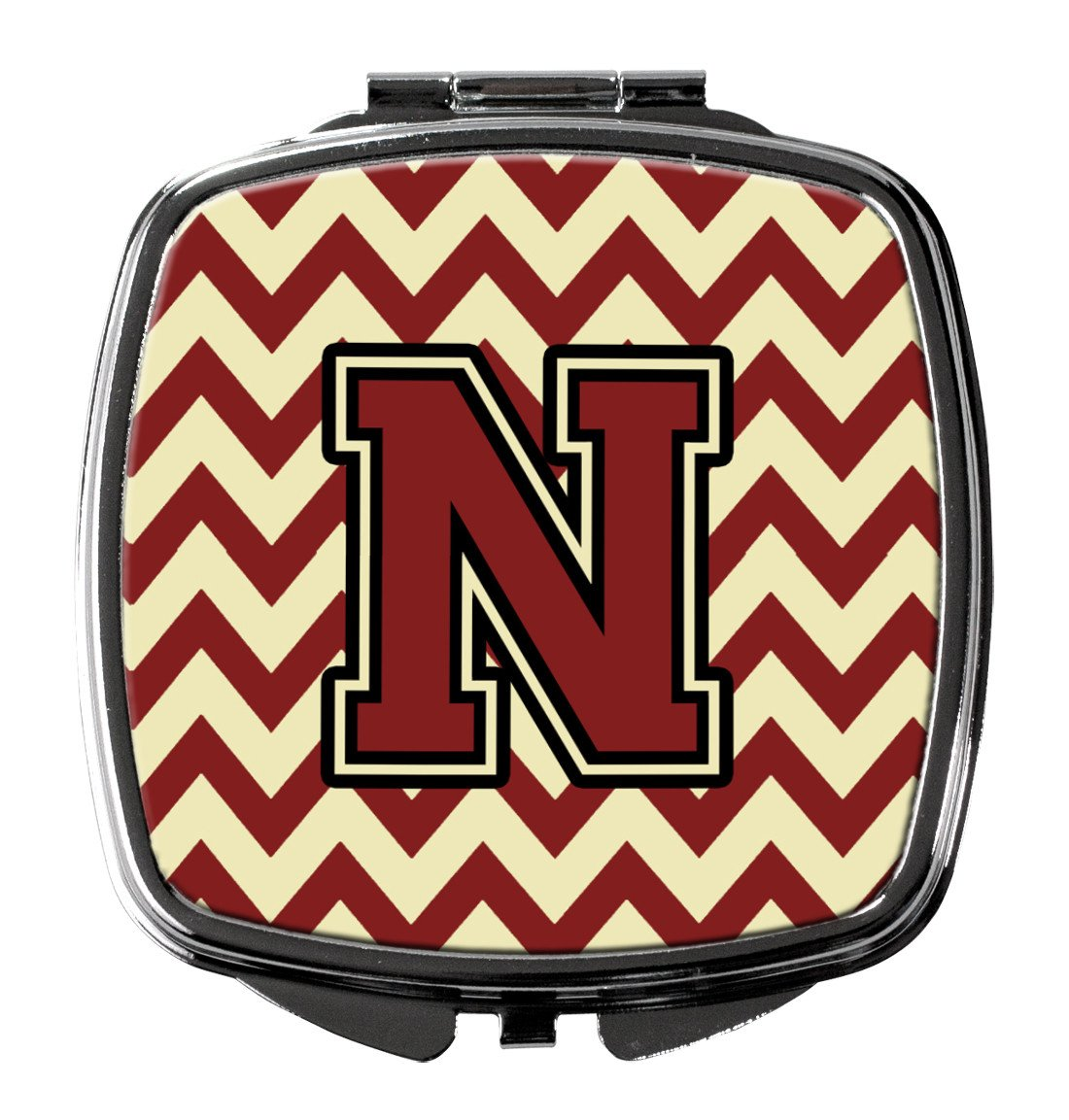 Letter N Chevron Maroon and Gold Compact Mirror CJ1061-NSCM by Caroline's Treasures