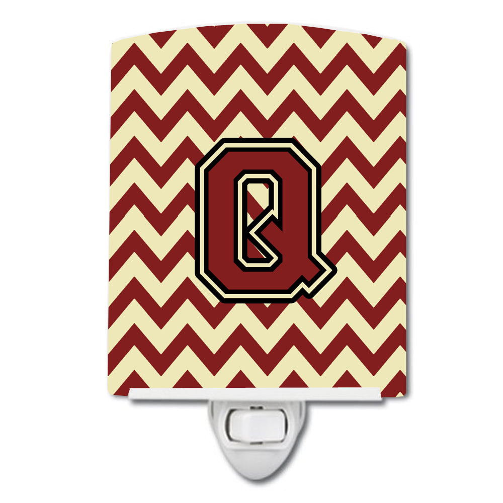 Buy this Letter Q Chevron Maroon and Gold Ceramic Night Light CJ1061-QCNL