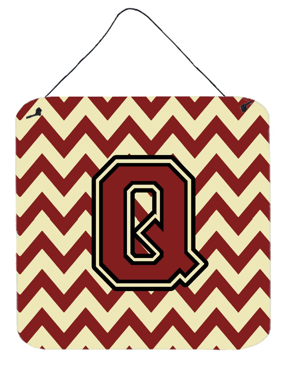 Letter Q Chevron Maroon and Gold Wall or Door Hanging Prints CJ1061-QDS66 by Caroline's Treasures