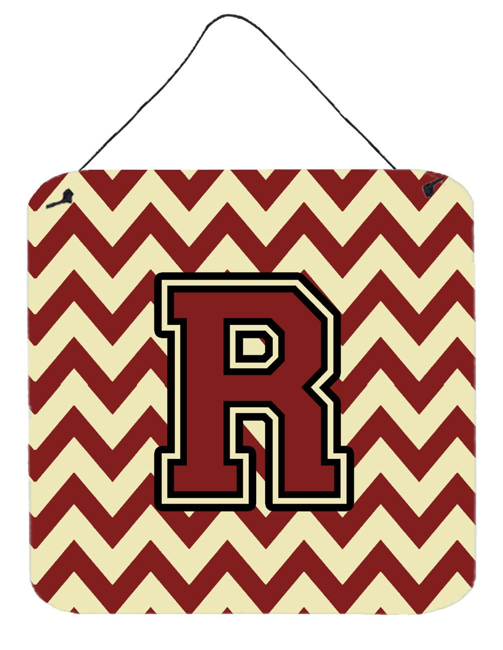 Letter R Chevron Maroon and Gold Wall or Door Hanging Prints CJ1061-RDS66 by Caroline's Treasures