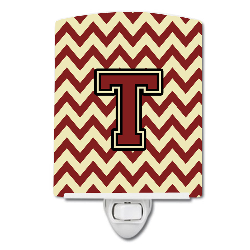 Buy this Letter T Chevron Maroon and Gold Ceramic Night Light CJ1061-TCNL