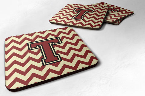 Buy this Letter T Chevron Maroon and Gold Foam Coaster Set of 4 CJ1061-TFC