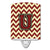 Buy this Letter U Chevron Maroon and Gold Ceramic Night Light CJ1061-UCNL