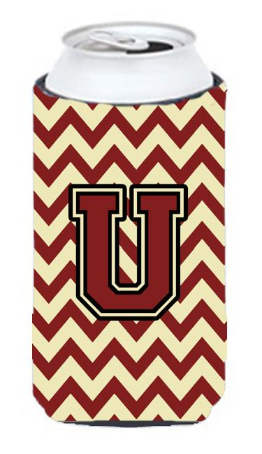 Buy this Letter U Chevron Maroon and Gold Tall Boy Beverage Insulator Hugger CJ1061-UTBC