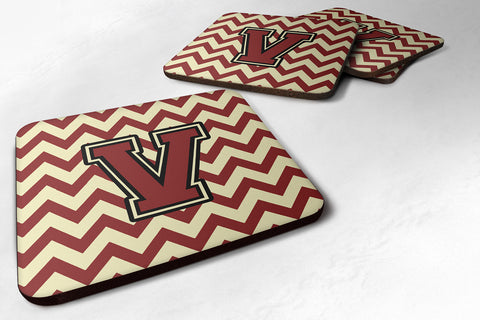 Buy this Letter V Chevron Maroon and Gold Foam Coaster Set of 4 CJ1061-VFC