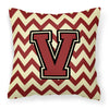 Letter V Chevron Maroon and Gold Fabric Decorative Pillow CJ1061-VPW1414 by Caroline's Treasures