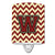 Buy this Letter W Chevron Maroon and Gold Ceramic Night Light CJ1061-WCNL