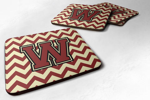 Buy this Letter W Chevron Maroon and Gold Foam Coaster Set of 4 CJ1061-WFC