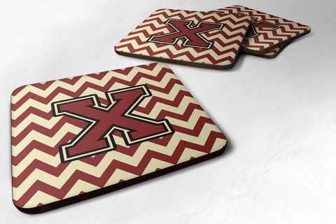 Buy this Letter X Chevron Maroon and Gold Foam Coaster Set of 4 CJ1061-XFC