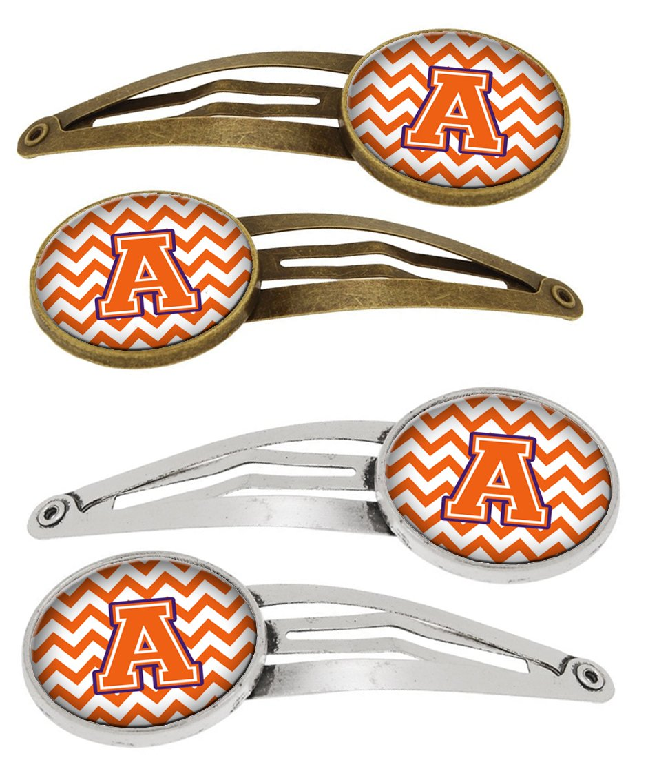 Buy this Letter A Chevron Orange and Regalia Set of 4 Barrettes Hair Clips CJ1062-AHCS4