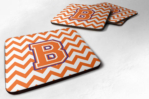 Buy this Letter B Chevron Orange and Regalia Foam Coaster Set of 4 CJ1062-BFC