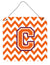 Letter C Chevron Orange and Regalia Wall or Door Hanging Prints CJ1062-CDS66 by Caroline's Treasures