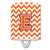 Buy this Letter E Chevron Orange and Regalia Ceramic Night Light CJ1062-ECNL