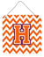 Letter H Chevron Orange and Regalia Wall or Door Hanging Prints CJ1062-HDS66 by Caroline's Treasures