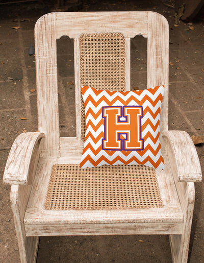 Letter H Chevron Orange and Regalia Fabric Decorative Pillow CJ1062-HPW1414