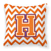 Buy this Letter H Chevron Orange and Regalia Fabric Decorative Pillow CJ1062-HPW1414