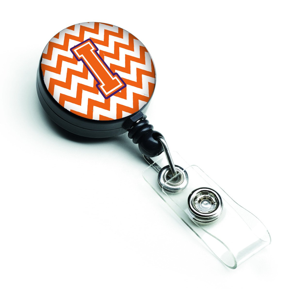 Letter I Chevron Orange and Regalia Retractable Badge Reel CJ1062-IBR by Caroline's Treasures