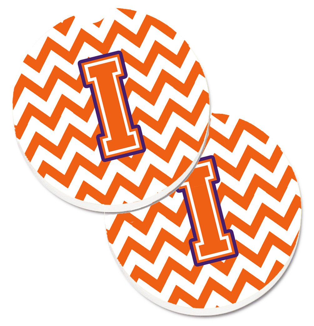 Letter I Chevron Orange and Regalia Set of 2 Cup Holder Car Coasters CJ1062-ICARC by Caroline's Treasures